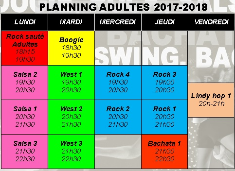 Planning cours adultes