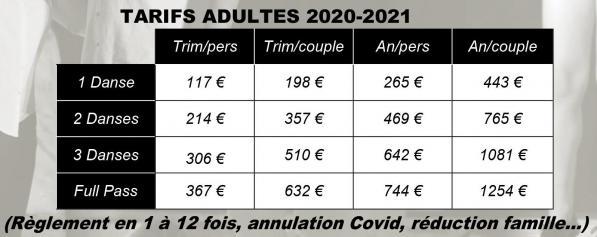 Tarifs adultes 2020